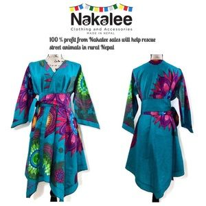 Boho Kimono Style Belted Dress